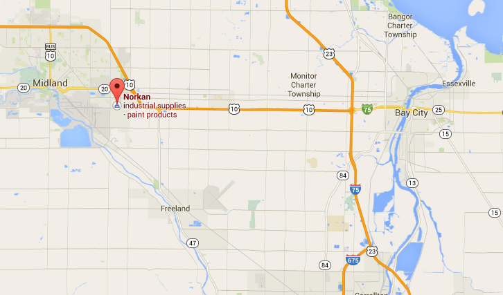 Map to Norkan Inc. in Midland, MI
